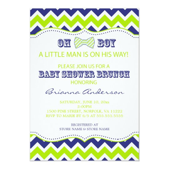 OH BOY Bow Tie Boy Baby Shower Invite