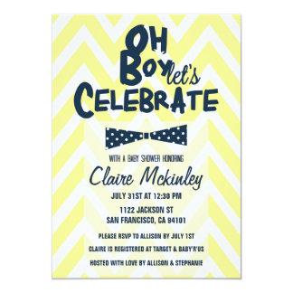 OH BOY Bow Tie Chevron Baby Boy Shower Invitation
