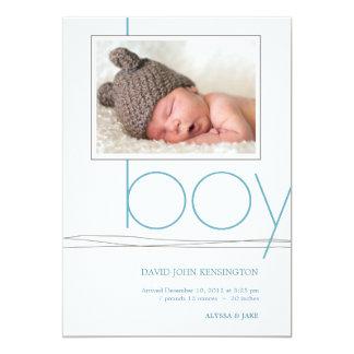 Oh Boy Custom Photo Birth Announcement