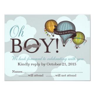 Oh Boy lil man hot air balloon RSVP card