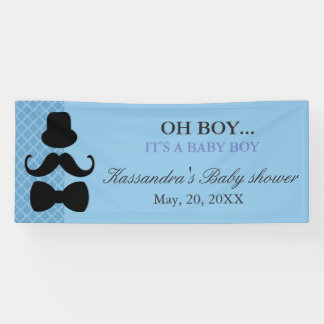 OH BOY! Little Man Moustache Baby Boy Shower Banner