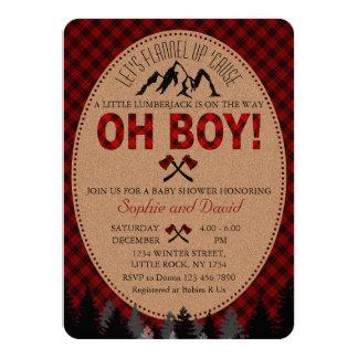 Oh Boy Lumberjack Red Buffalo Baby Shower Invite