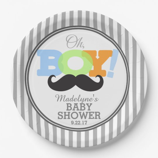 Oh Boy Moustache Baby Shower 9 Inch Paper Plate