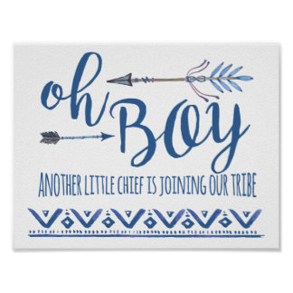Oh Boy Tribal Baby Shower Sign