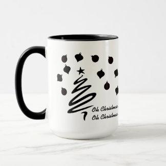 Oh Christmas Tree and Ornaments Black and White Mug