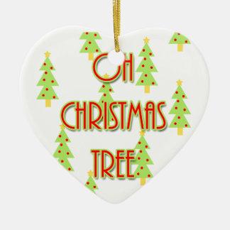 oh christmas tree mid century modern green red ceramic ornament