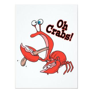 oh crabs funny crab pinching tongue custom invitations