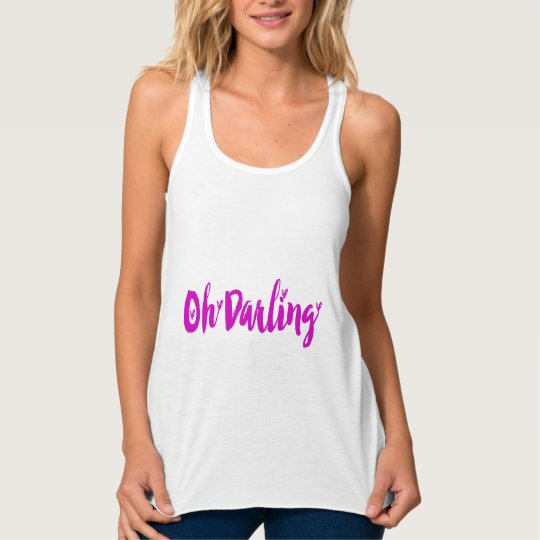 Oh Darling Cute Hot Pink Love Hearts Typography Tank Top