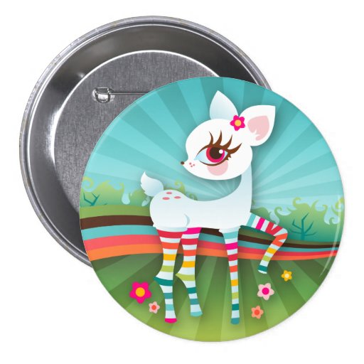 Oh Deer! Albino Rainbow Button