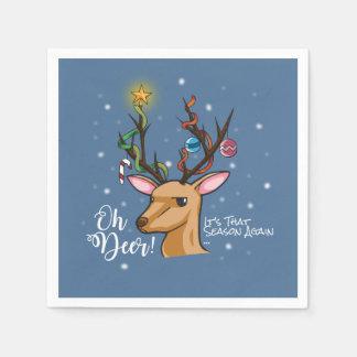 """Oh Deer"" Christmas Decoration Paper Napkins"