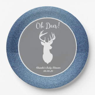 Oh Deer White Buck Custom Denim Gray Party Plates