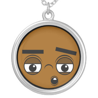 Oh Face Silver Plated Necklace