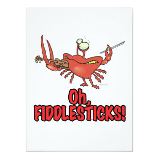 OH FIDDLESTICKS silly fiddler crab 6.5x8.75 Paper Invitation Card