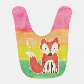 Oh For Fox Sake Watercolor Stripes Bib