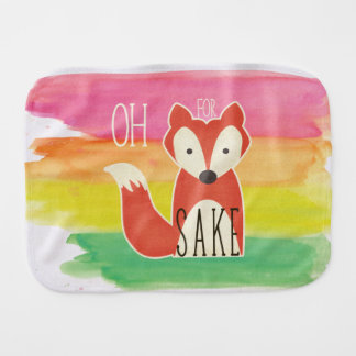 Oh For Fox Sake Watercolor Stripes Burp Cloth