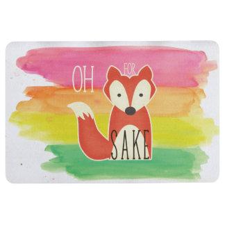 Oh For Fox Sake Watercolor Stripes Floor Mat