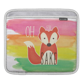 Oh For Fox Sake Watercolor Stripes iPad Sleeve