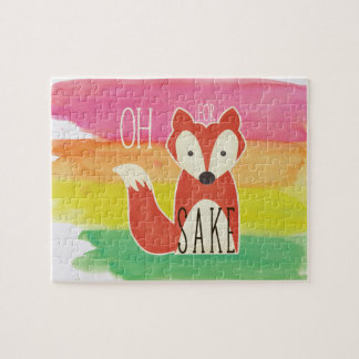 Oh For Fox Sake Watercolor Stripes Jigsaw Puzzle