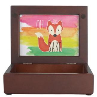 Oh For Fox Sake Watercolor Stripes Keepsake Box