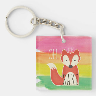 Oh For Fox Sake Watercolor Stripes Keychain