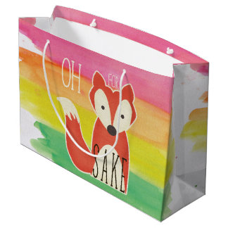 Oh For Fox Sake Watercolor Stripes Large Gift Bag
