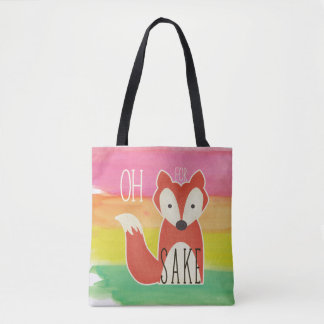 Oh For Fox Sake Watercolor Stripes Tote Bag