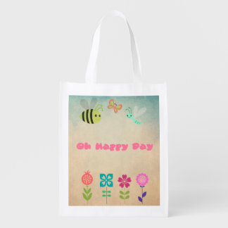 Oh Happy Day Whimsical Flowers and Cheerful Bugs Grocery Bag