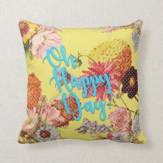 Oh Happy Day! Yellow Throw Pillow