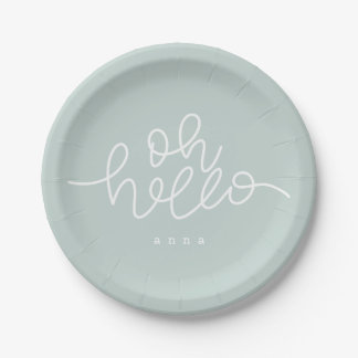 Oh Hello blush mint Paper Plate