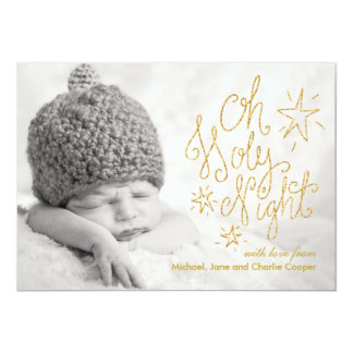 Oh Holy Night Gold Glitter | Holiday Photo Card