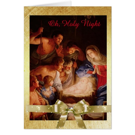 Oh, Holy Night, Jesus, Mary and Shepherds Card
