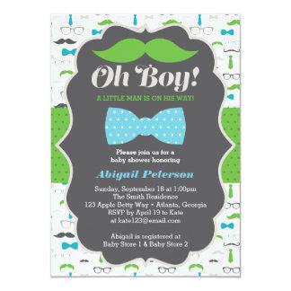 Oh invitation de baby shower, bleu, vert