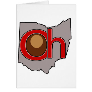 Oh! io! Ohio in Red and Gray with a Buckeye Card