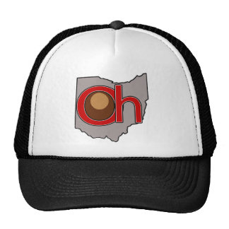 Oh! io! Ohio in Red and Gray with a Buckeye Trucker Hat