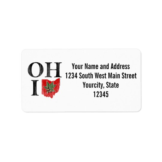 OH IO Typographic Ohio Vintage Red Buckeye Nut