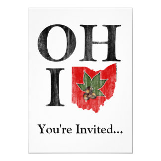 OH IO Typographic Ohio Vintage Red Buckeye Nut Card