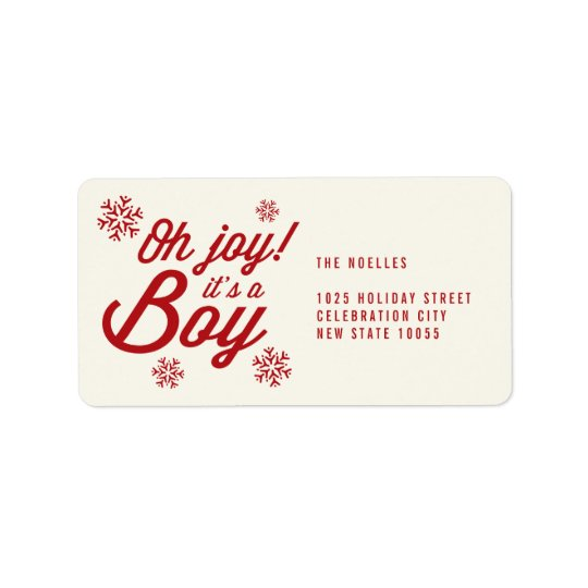 Oh Joy It's a Boy Baby 1st Christmas Address Label