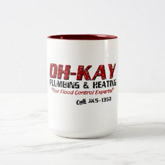 OH-KAY Plumbing & Heating (Distressed) Two-Tone Coffee Mug