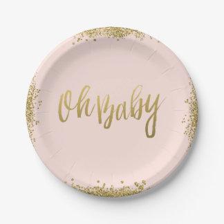 Oh le bébé rougissent baby shower rose de assiette en papier 17,8 cm