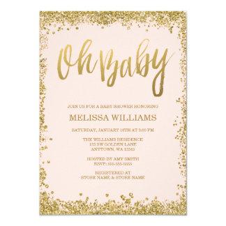 Oh le bébé rougissent baby shower rose de carton d'invitation  11,43 cm x 15,87 cm