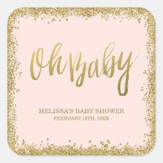 Oh le bébé rougissent baby shower rose de sticker carré
