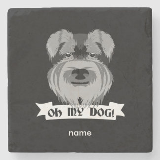 Oh My Dog Schnauzer Stone Coaster