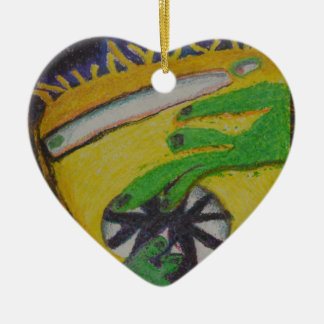 Oh Oh- Green Hands Ceramic Heart Ornament