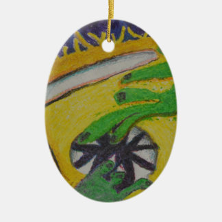 Oh Oh- Green Hands Ceramic Oval Ornament