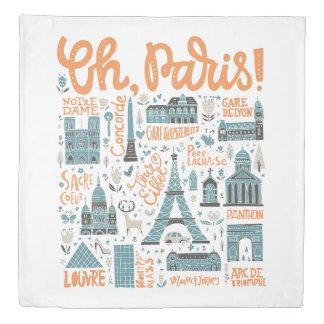 Oh, Paris! | Town Typography Duvet Cover