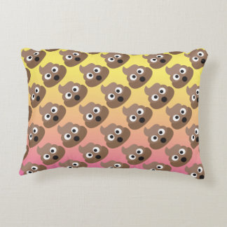 Oh Poop Emoji Patterned Ombre Pillow
