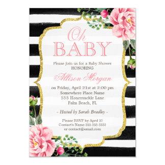 Oh rayures florales de blanc de noir d'or de baby carton d'invitation  12,7 cm x 17,78 cm
