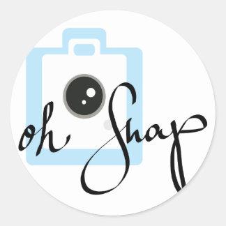 Oh Snap camera graphic Round Sticker