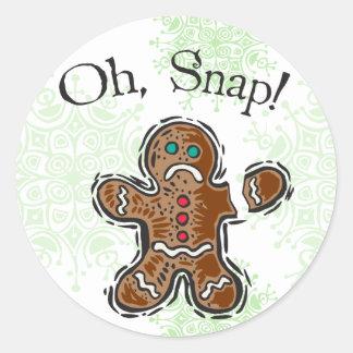 Oh, Snap Cookie Round Sticker