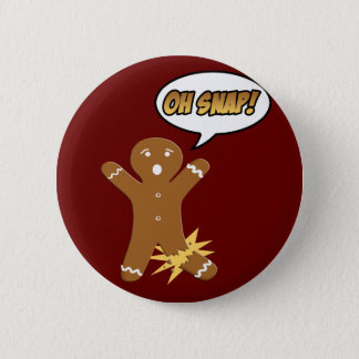 Oh Snap! Funny Christmas Gingerbread Man 2 Inch Round Button
